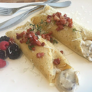 Mushroom Manchego Cream Filled Crepes #SundaySupper