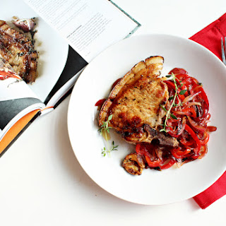 Gordon Ramsay's pork chop with sweet & sour peppers.