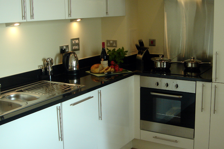 Fully equipped kitchen at Millharbour Apartments Canary Wharf