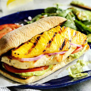 Grilled Chicken and Pineapple Sandwich with Creamy Basil Sauce.