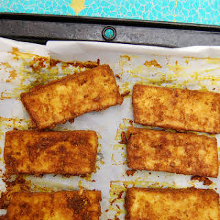 Whole-Food Plant-Based Curry Tofu with Farro and Broccoli.