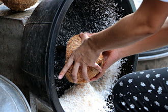 Photo: grating a coconut with a mechanized spiky round grater attached to a motor that spins it around at high speed