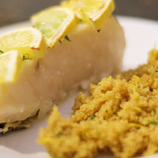 Roasted Sea Bass with Herbed Quinoa.