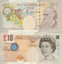 Photo: Charles Darwin, 10 British Pounds (2005). This note is still legal currency and is still in print.