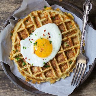 Savory Cauliflower Waffles + Fried Eggs