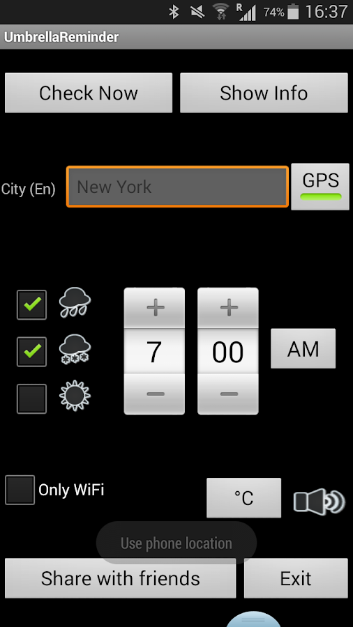 Umbrella Reminder- screenshot