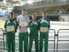 Photo: Irish Junior Boys Combined Events Team 2012 who finished 4th - L to R: Jack Murphy (15th), Matthew Dalton (8th), Aidan Conneely (16th) & Daniel Ryan (6th)