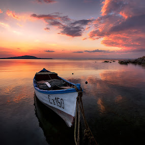 The Boat of Uncle Ivan by Atanas Donev - Transportation Boats ( water, red, sunset, sea, reflections, boat,  )