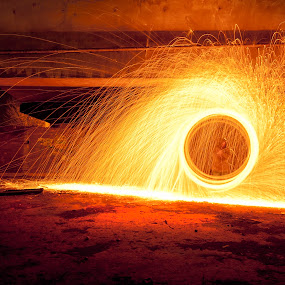 Halo by Robert Little - Abstract Light Painting ( urban exploration, light painting, wire wool, long exposure, fire )