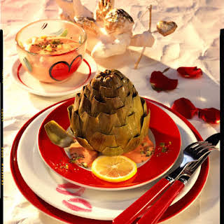Artichokes with Cocktail Sauce.