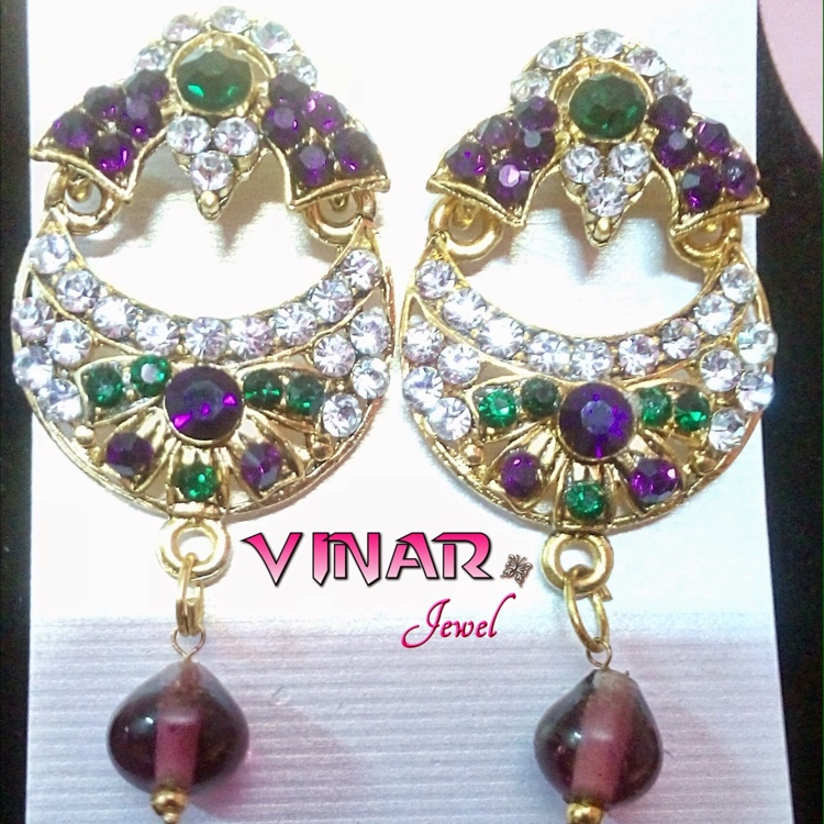 Kundan Gold Covered with Green, Purple & White Stone by Vinar Jewel