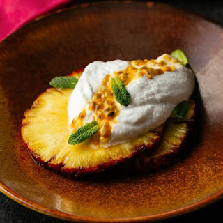 Vegan Coconut Mousse With Passion Fruit, Lime and Roasted Pineapple.
