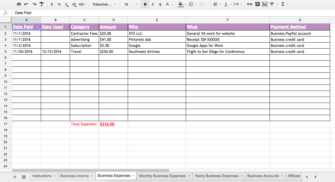 Busy Moms Building Business Tracking Spreadsheet