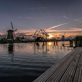 Sunset Kinderdijk by Henk Smit - Landscapes Sunsets & Sunrises