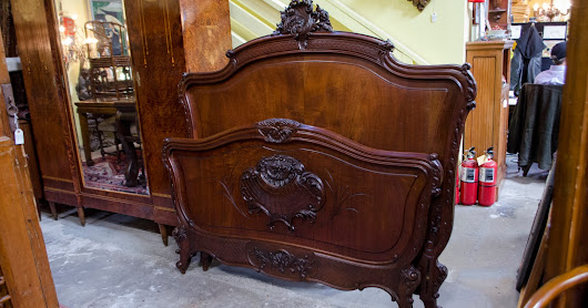 58DN20 - French Walnut Louis XV Style Bed