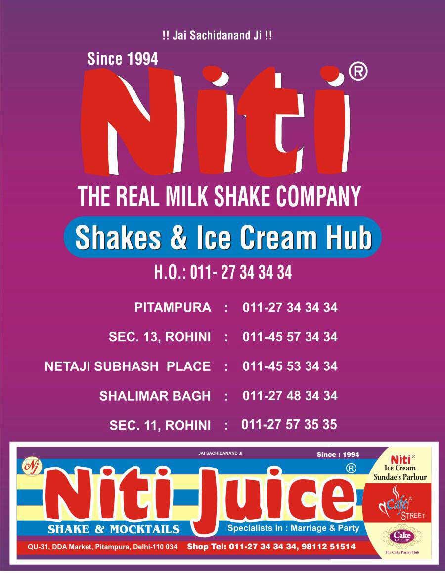 Niti Shake & Ice Cream Hub, Sector 11 menu 1