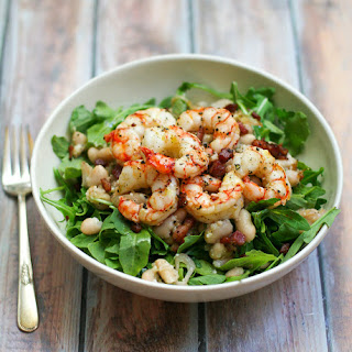 Roasted Shrimp Salad with Pancetta and White Beans.