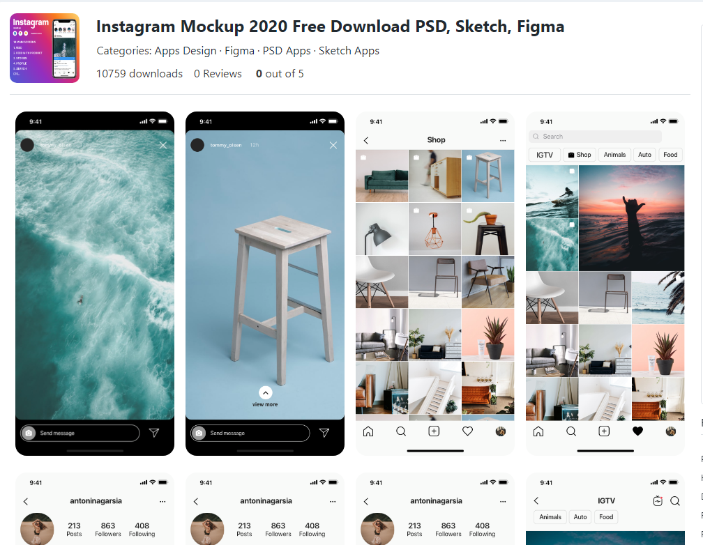 Instagram free photoshop mockups
