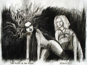 """Photo: The Artist & Her Muse, 2012, 12"""" x 17"""", charcoal on primed canvas sheet."""