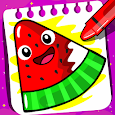 Fruits Coloring book & Food Drawing book Kids Free icon