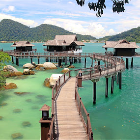 by Alvin Ngow - Buildings & Architecture Bridges & Suspended Structures ( pangkor laut resort, mountain, relax, travel, water house, photography, pangkor laut water bungalow, sky, asia, tourist attractions, resort, pangkor laut island, water villa, green, sea, malaysia, seascape, relaxing, pangkor laut, waterscapes, holiday, landmark, outdoor, scenery, bridge, landscapes, bungalow,  )