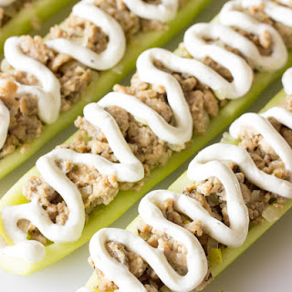 Greek Stuffed Cucumbers with Chicken and Yogurt Sauce Recipe