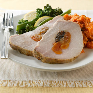 Fruit-Stuffed Pork Loin with Dijon-Garlic Crust.