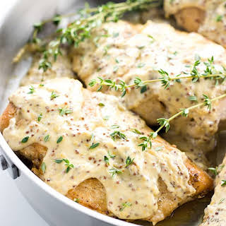 Pan Seared Chicken Breast Recipe with Mustard Cream Sauce (Low Carb, Gluten-free).