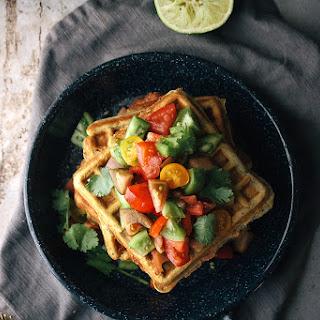 Savory Cheddar & Cornmeal Waffles With Green Tomato Salsa