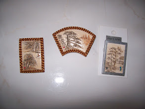 "Photo: Chinese Landscape Pin. Polymer Clay hand carved. Rectangle: 1 1/4"" x 1 7/8"" , Fan: 1 1/2"" x 2 1/2"" $49.00"