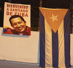 Photo: poster of hugo chavez, cuba. Tracey Eaton photo.