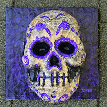 Photo: Ceremonial Death.  12 x 12 x 6 inches.  Paper mâché, acrylics, and ink on a wooden frame. Signed and sealed. Ready to hang.  ©Marisol McKee
