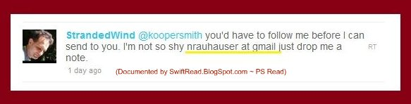 Photo: Rauhauser coordinating with another writer and political  activist, who is also attacking private citizens using twitter.  Jeffrey Koopersmith is at http://twitter.com/Koopersmith http://twitter.com/koopersmith/status/25407100797