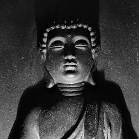 Buddha in Meditation by Bhavin Degadwala - Black & White Objects & Still Life ( religion, black and white, shadow, black, buddha )