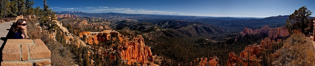 Photo: Bryce Canyon from Farview Point. You can see out to Navajo Mountain, just left of center, and then down towards Lee's Ferry in the Paria River dranage area to middle right of cetner.