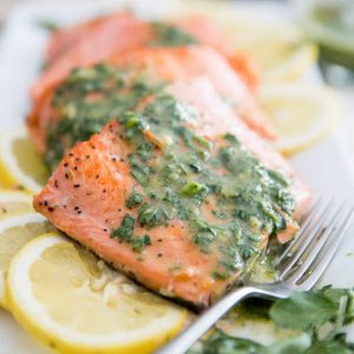 Easy Pan Seared Trout Fillet with Watercress Vinaigrette.