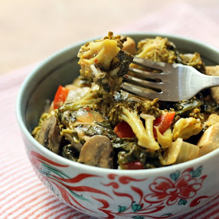 Thai Red Curry Chicken And Dark Leafy Greens {gluten-free}.