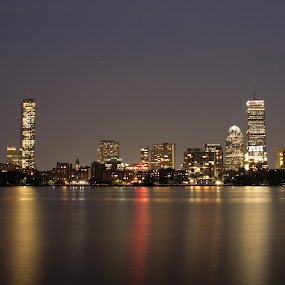 Boston FC Skyline by Harish Kumar K - Buildings & Architecture Office Buildings & Hotels ( boston, canvas, wallpaper, nightscape, skyline, long exposure, building, architecture, night photography )