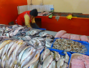 Photo: The seafood stall.  Farmed trout are widely available.