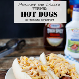 Macaroni and Cheese Topped Hot Dogs.