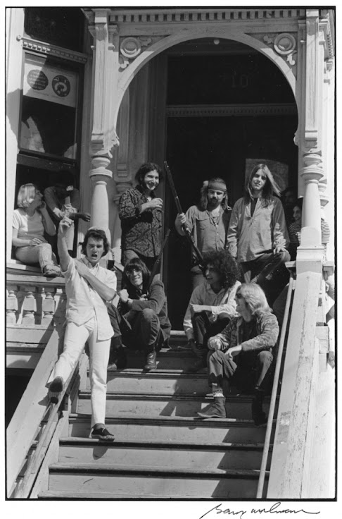 The band on the stoop of 710 Ashbury St.