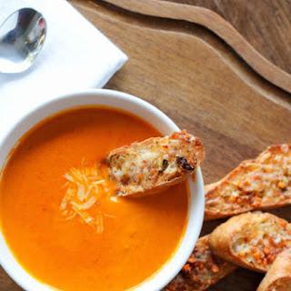 Smoky Roasted Tomato Soup with Gruyere & Umbria Crostini