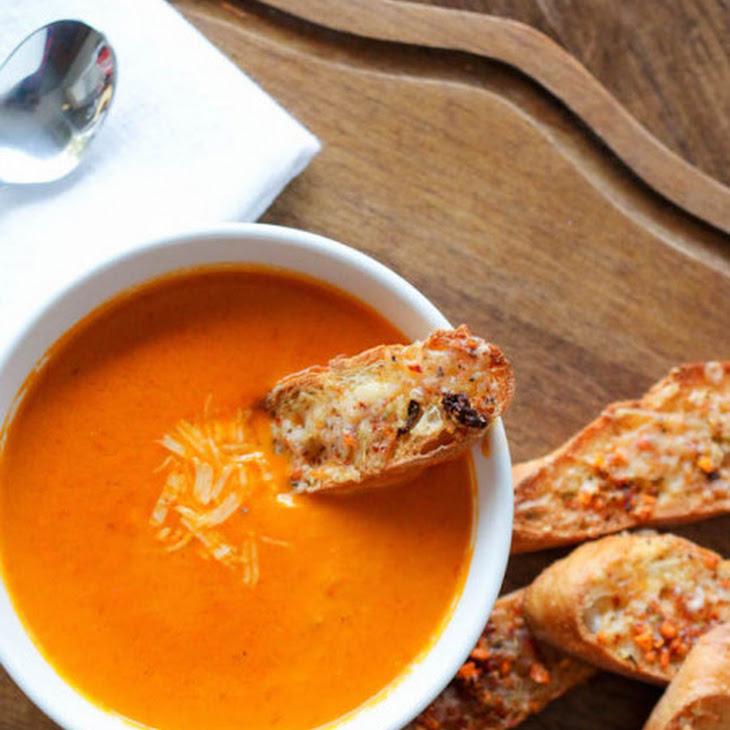 Smoky Roasted Tomato Soup with Gruyere & Umbria Crostini Recipe