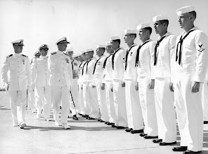 Photo: RADM J.C. Clifton inspects Chase Enlisted personnel during the annual Admin Inspection, June 19, 1959