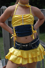 Photo: Custom Made. To buy (CSD-Cotton Eyed Joe) email me at Pam@act2dancecostumes.com  $115.00  QTY (5)    Size:  (1)Small/Med Child/no spankies ~ $105.00,  (1) Med Child,  (3) Large Child  Two piece yellow satin and jean costume.  Loaded with rhinestones.  The top is all one piece.  Sheer fabric attach the jean and yellow sections together.  The bottom has built in spankies.  Rhinestone choker and hair bow are included.  Get this one before it is gone!  Too cute!  7 day returns same condition! Paypal/Credit/Western Union accepted.  US shipping $10 plus 3% paypal fee for costumes over $100  Contact for world wide shipping quote. Thanks!  CSDDB, CSDXX, CSDXX, CSDXX, CSDAS