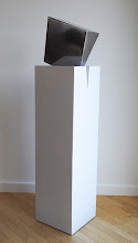 Photo: BIG WEDGE - 55H X 12W X 16D Polished and Painted Mild Steel, Collaboration with Marilyn Block Ugiansky