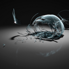 broken wine glass by Markus Gann - Illustration Products & Objects ( dynamic, dish, nobody, concept, unique, harm, crush, change, illustration, busted, mess, splinters, clear, realistic, destroyed, drink, glass, dark, grey, transparent, closeup, wine, isolated, dish-ware, sharp, crisp, beautiful, art, white, damage, crystal, shape, rendering, broken, arrangement, remain, beverage, 3d, ware, horizontal, fragments, background, injury, wineglass,  )