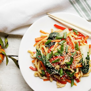 Spicy Orange Sesame Udon Noodle Stir Fry with Bok Choy Recipe