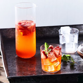 Spring Sangria with Strawberries and Mint.