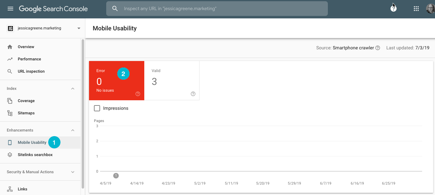 mobile usability tools in google search console